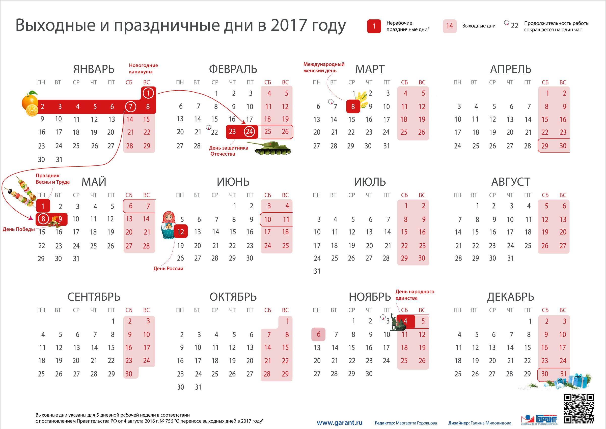 Рабочий календарь в россии 2017